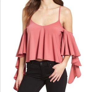 LEITH • Ruffle Blouse Tank In Red Baroque